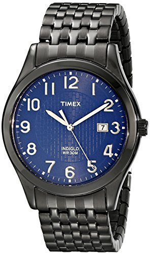 (Timex Men's T2P203 Woodcrest Drive Black Stainless Steel Expansion Band Watch)