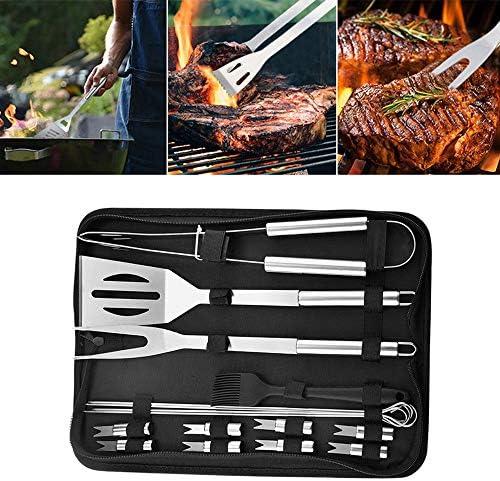Cobeky 16 PièCes SéRies Accessoires de Gril Outils de Barbecue Ensemble de Gril en Acier Inoxydable avec Sac Grand Outil D'Ustensile de Barbecue