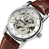 Watches Individual Relief Type Tray Dynamic Spitting Beads Fashion Watch Men's drilled Waterproof Watch,Inter-White Dragon Brown Belt