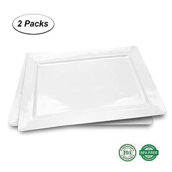 Melamina - Bandeja rectangular para servir, juego de 2 platos de color blanco a prueba