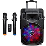 PA System with LED Party Lights, Wireless Portable Bluetooth 12' Audio Speaker with 2 Wireless Microphones FM Radio Party Karaoke Machine Sound System MCP-212 Soundstream by Pure Acoustics