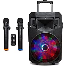 "PA System with LED Party Lights, Wireless Portable Bluetooth 12"" Audio Speaker with 2 Wireless Microphones FM Radio Party Karaoke Machine Sound System MCP-212 Soundstream by Pure Acoustics"