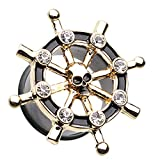 8 ga plugs - Golden Colored Pirate Ship Anchor Wheel Ear Gauge Plug - 0 GA (8mm) - Black/Clear - Sold as a Pair