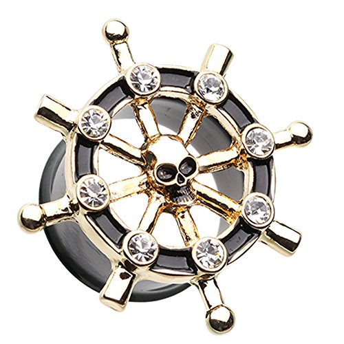 Golden Colored Pirate Ship Anchor Wheel Ear Gauge Plug - 0 GA (8mm) - Black/Clear - Sold as a - Ga 831
