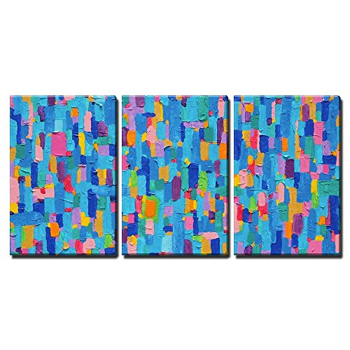 Original Contemporary Abstract Painting - wall26 - 3 Piece Canvas Wall Art - Background and Colorful Image of an Original Abstract Painting on Canvas - Modern Home Decor Stretched and Framed Ready to Hang - 24