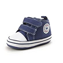 Itaar Baby Canvas Sneaker Classic Infant Toddler Dual Strap Trainer Anti-Skid Rubber Sole Prewalker Shoes