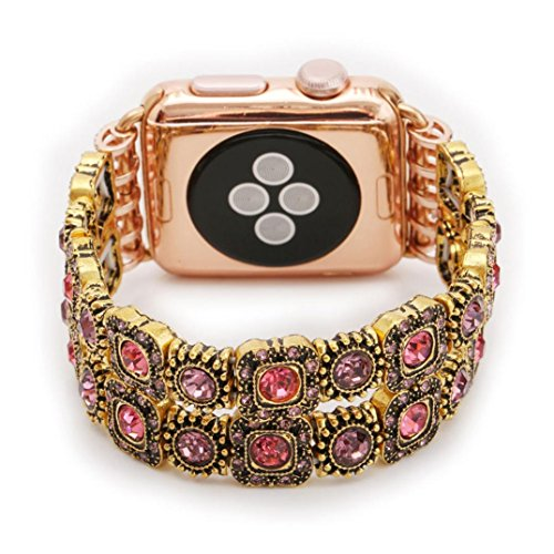 Personalize Watch Strap, Ankola New Fashion Beaded Gemstone Bracelet Replacement Watch Band Comfortable Wrist Strap for Apple Watch Series 1 38mm/42mm (42mm, Pink) (Watch Pink Beaded)