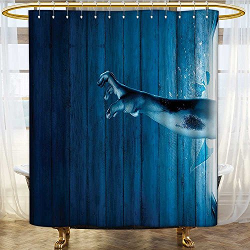 (Mikihome Shower Curtains Sets Bathroom Zombie Come Out from Television Undead Being Devil Themed Blue Satin Fabric Sets Bathroom W48 x H72 inch)
