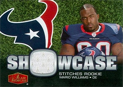 (Mario Williams player worn jersey patch football card (Houston Texans) 2006 Fleer Flair Showcase Stitches #SHSMW Rookie)