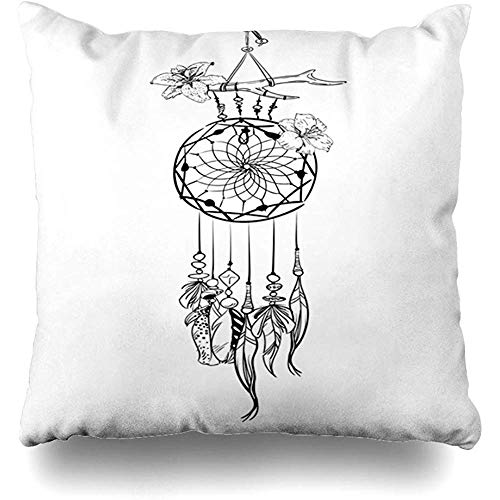 (Throw Pillow Cover Ethnic Amulet Monochrome Dream Catcher Ornate Feathers Boho Beads Flowers American Vintage Aztec Home Decor Pillowcase Square 18 x 18 Inch Zippered Cushion Case)