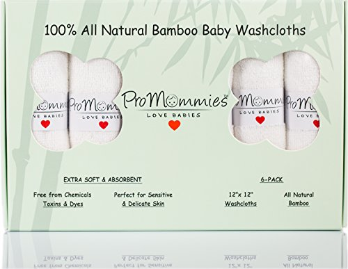 """Extra Large (12""""x12"""") Premium Bamboo Baby Washcloths (6-Pack), 100% All Natural Bamboo Reusable Wipes (DYE FREE) for girls, boys and adults, Ultra Soft and Absorbent Towels for Sensitive Skin Gift Set"""