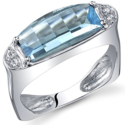 (Radiant and Seductive 3.00 Carats Barrel Cut Swiss Blue Topaz Ring in Sterling Silver Rhodium Finish Size 5)
