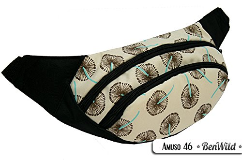 Rawstyle Bauchtasche Amuso (PUSTERBLUME BEIGE) - Gürteltasche Jogging Angel Futter Leckerei Hüfttasche SPORT NEU