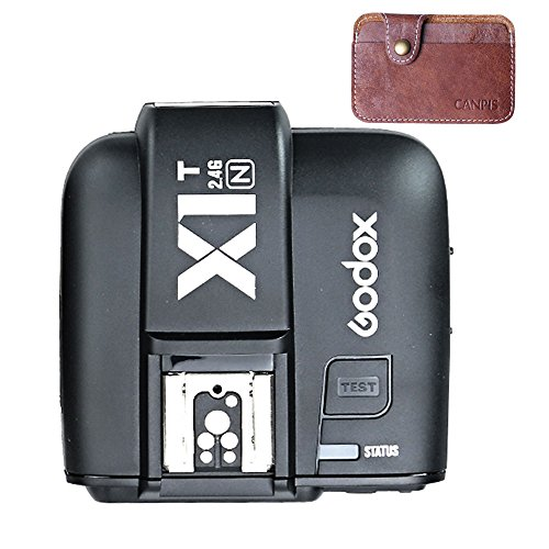 Godox X1T-N 2.4G Wireless Flash Trigger Transmitter for Nikon support i-TTL HSS 1/8000s Group Function Firmware Update (with CANPIS Leather Card Pouch) by Godox