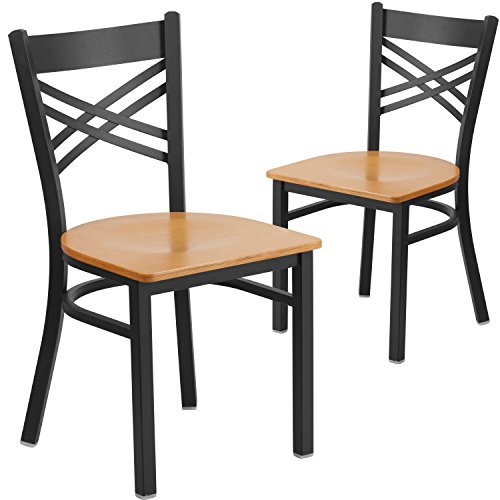 Flash Furniture 2 Pk. HERCULES Series Black ''X'' Back Metal Restaurant Chair - Natural Wood Seat