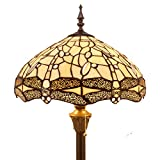 Cheap Tiffany Style Floor Standing Lamp 64 Inch Tall Cream Stained Glass Shade Crystal Bead Dragonfly 2 Light Antique Base for Bedroom Living Room Reading Lighting Table Set S139 WERFACTORY