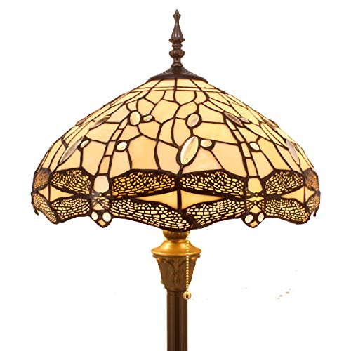 Cream Glass Shade - Tiffany Style Floor Standing Lamp 64 Inch Tall Cream Stained Glass Shade Crystal Bead Dragonfly 2 Light Antique Base for Bedroom Living Room Reading Lighting Table Set S139 WERFACTORY