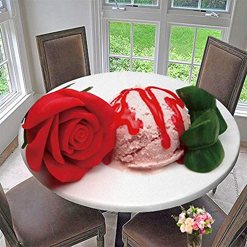 PINAFORE HOME Round Premium Table Cloth Strawberry ice Cream Scoop with Marzipan Rose Perfect for Indoor, Outdoor 40