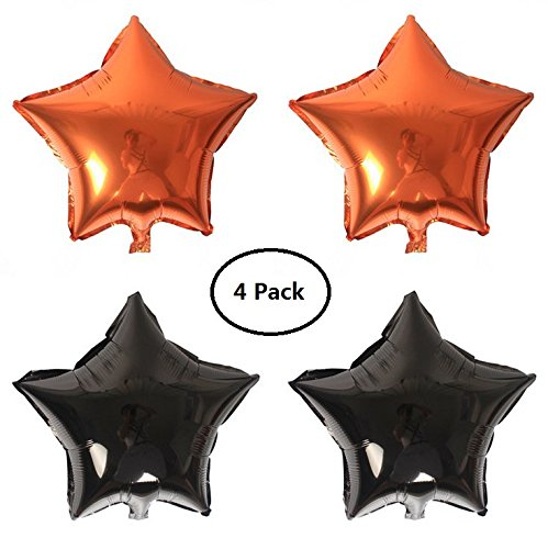 EBTOYS Foil Mylar Helium Ballon Lot Star Shape Balloons Halloween Party Decorations,18inch,4-Pack(Black & Orange)]()
