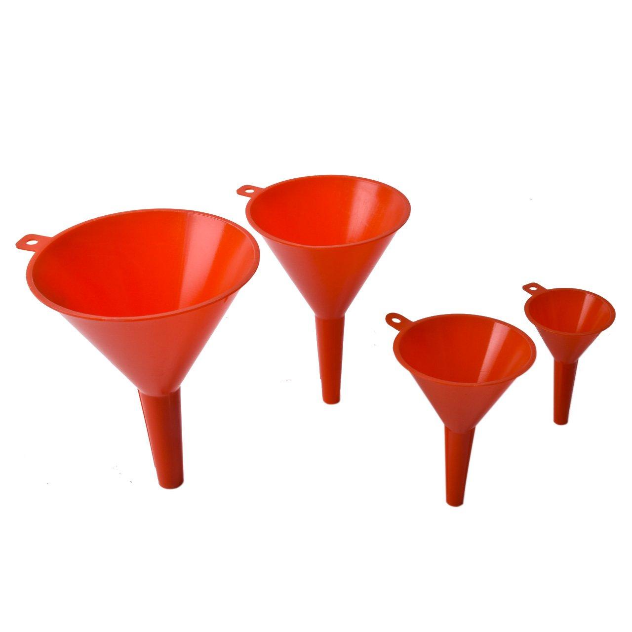 Magiin Imbuti set di 4 Imbuto in Plastica Rosso per Auto, Moto