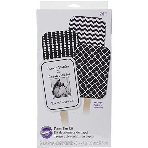 Wedding Fan Kit Makes 24-Black & White