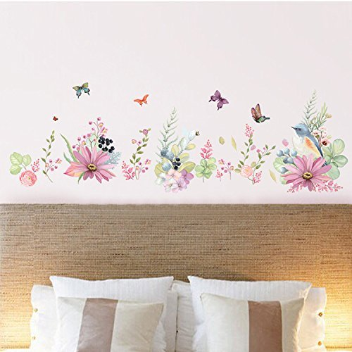 """Home Find Flowers Border Decals Peel and Stick Garden Murals Poetic Floral Flowers with Bird and Butterflies Wall Stickers Living Room Kids Children Room Nursery Corner Artistic Decor 66.9""""w x 21.7""""h"""