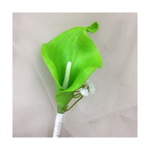 Lily-Garden-Artificial-Flower-Calla-Lily-Boutonniere-Corsage-with-Ribbon-Lime-Green