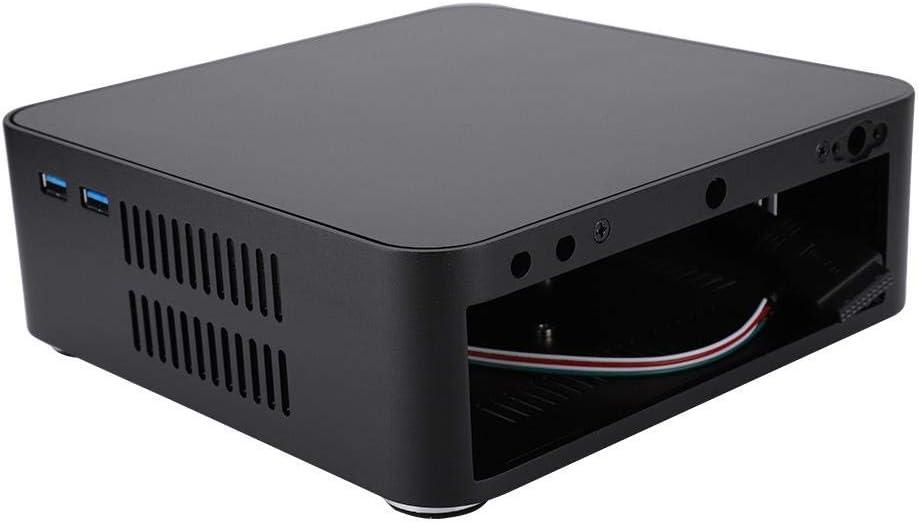 Black Zopsc Mini PC Aluminum Alloy ITX Computer Case High Heat Dissipation Case for Mini-ITX Motherboard//Standard 3.5-inch Hard Drive