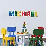 Bloc de briques Lego personnalisé Nom Autocollant Décoration murale personnalisée bébé Nom Autocollant Chambre d'enfant murale Lettre panoramique