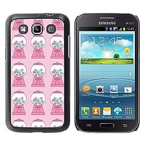 FECELL CITY // Duro Aluminio Pegatina PC Caso decorativo Funda Carcasa de Protección para Samsung Galaxy Win I8550 I8552 Grand Quattro // Candy Bubble Gum Machine Pink Pattern