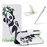 Leather Case for Samsung Galaxy J7 2017,Flip Wallet Cover for Samsung Galaxy J7 2017,Herzzer Stylish Cute Panda Pattern Magnetic Closure Purse Folio Smart Stand Cover with Card Cash Slot Soft TPU Inner Case for Samsung Galaxy J7 2017 + 1 x Free White Cellphone Kickstand + 1 x Free Silver Stylus Pen