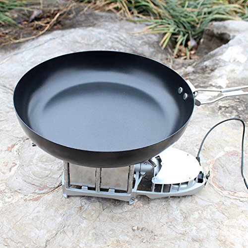 "MagiDeal 9.5"" Non Stick Cast Iron BBQ Picnic Camping Frying Pan with Foldable Handle"