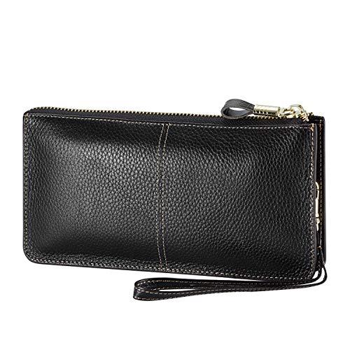 Lecxci Luxury Womens Genuine Leather Clutch Cell Phone Handbags, Zipper Wristlets RFID Blocking Wallets Purse for Women (Lichee Texture Leather, Black RFID Blocking)