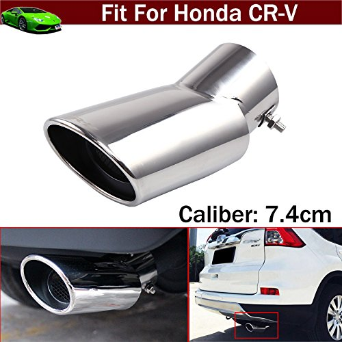 - 1pcs Stainless Steel Car SUV Exhaust Muffler Rear Tail Pipe Tip Tailpipe Extension Pipes Emblems Custom Fit for Honda CR-V CRV 2012 2013 2014 2015 2016 2017 2018 2019
