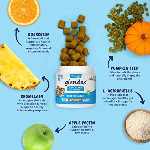 Glandex 60ct Peanut Butter Fiber Supplement with Profivex 30ct Pet Probiotic Soft Chews 6