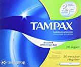 Tampax Cardboard Applicator Tampons, Duo Pack, Regular/Super Absorbency, Unscented, 40 Count - Pack of 6 (240 Total Count)