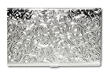 Metal Damask Embossed Business Card Case (Silver)