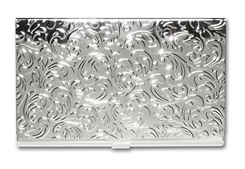 - Metal Damask Embossed Business Card Case (Silver)