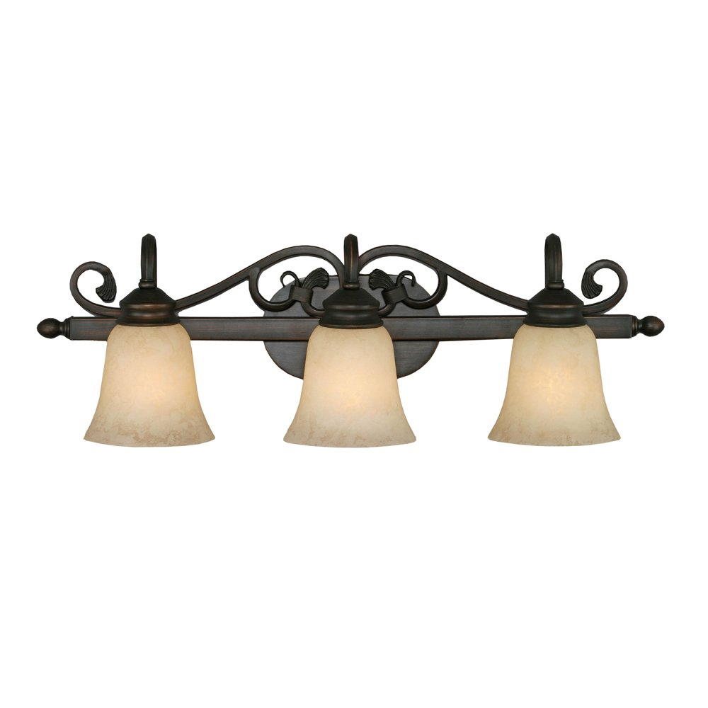 Golden Lighting 4074-3 RBZ Belle Meade Bath Fixture, Size 28-Inch W by 9-Inch H by 8-Inch E, Rubbed Bronze