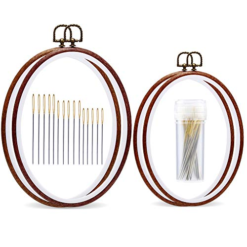 4 Pack Embroidery Hoop Ring, Oval Imitated Wood Display Frame with 30 Pieces Large Eye Embroidery Needles, Quilting Hoop and Cross Stitch Supplies for Art Craft Sewing and Wall Hanging (Cross Stitch Hanging)