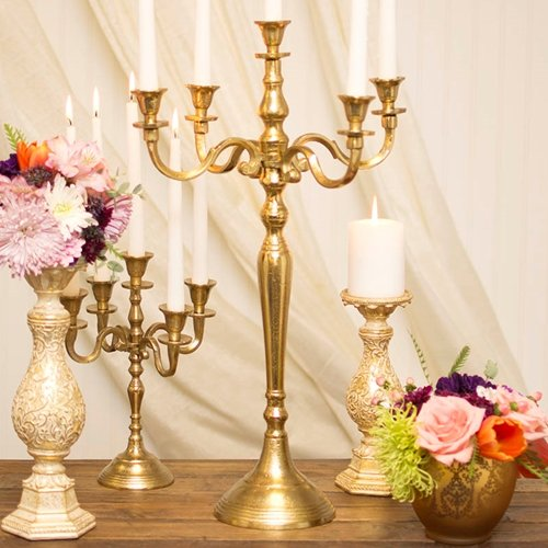 Candelabra Candle Holder, Table Decor Centerpiece, 24.5 inches, Gold by Accent Decor (ACD-)
