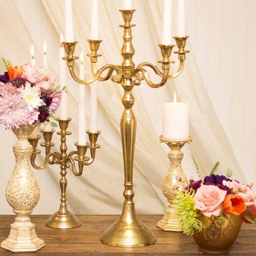 Vintage Brass Candelabra - Afloral Candelabra Candle Holder, Table Decor Centerpiece, 24.5 inches, Gold