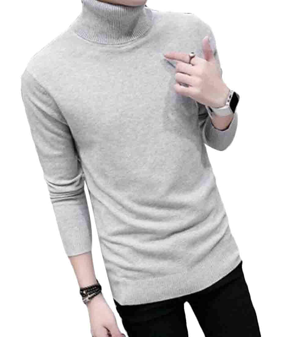 BYWX Men Autumn Slim Fit Shawl Collar Pullover Knit Ribbed Sweaters