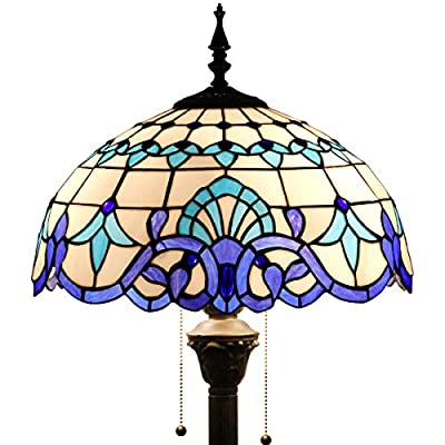 Tiffany Baroque Style Floor Standing Lamp 64 Inch Tall White Blue Stained Glass Shade 2 Light Pull Chain