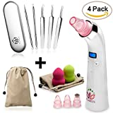 Professional Blackhead Remover Vacuum Set & Pore Extractor Cleaner Kit Removal By FLAXUS Blackhead Acne Cleanser Remover Suction Comedone, Pimple Needles, Sponges & Tweezers. Gifts for Women