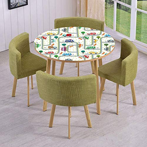 iPrint Round Table/Wall/Floor Decal Strikers/Removable/Vibrant Cute Children Drawing Cars Driving on The Roads Traffic Urban Themed Design/for Living Room/Kitchens/Office Decoration ()