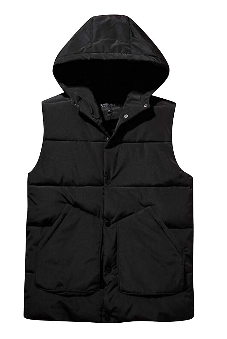 ARTFFEL Mens Winter Thicken Sleeveless Loose Fit Hooded Down Coat Vest Waistcoat