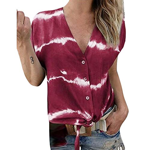 Sunhusing Women's Large Size V-Neck Gradient Color Tie-Dyed Printed Short-Sleeve T-Shirt Button Cardigan Top Wine