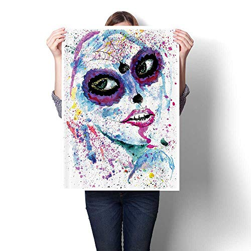 SCOCICI1588 Canvas Print Wall Art Grunge Halloween Lady with Sugar Skull Make Up Creepy Dead Gothic Woman Artsy Artwork for Wall Decor,16