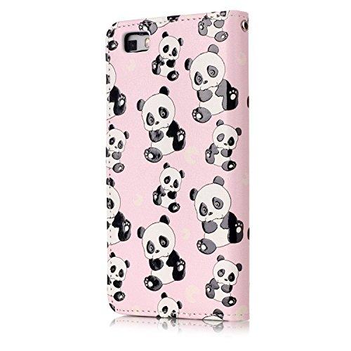 Funda Huawei P8 Lite,SainCat Funda de cuero sintético tipo billetera con de Suave PU Carcasa Con Tapa y Cartera,Elegante Estuche Caja,Pintado en relieve árbol Cuero de la PU Leather Cubierta Plegable  Panda